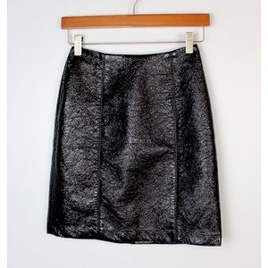 H&M Black Faux Leather Crinkle Mini Pencil Skirt